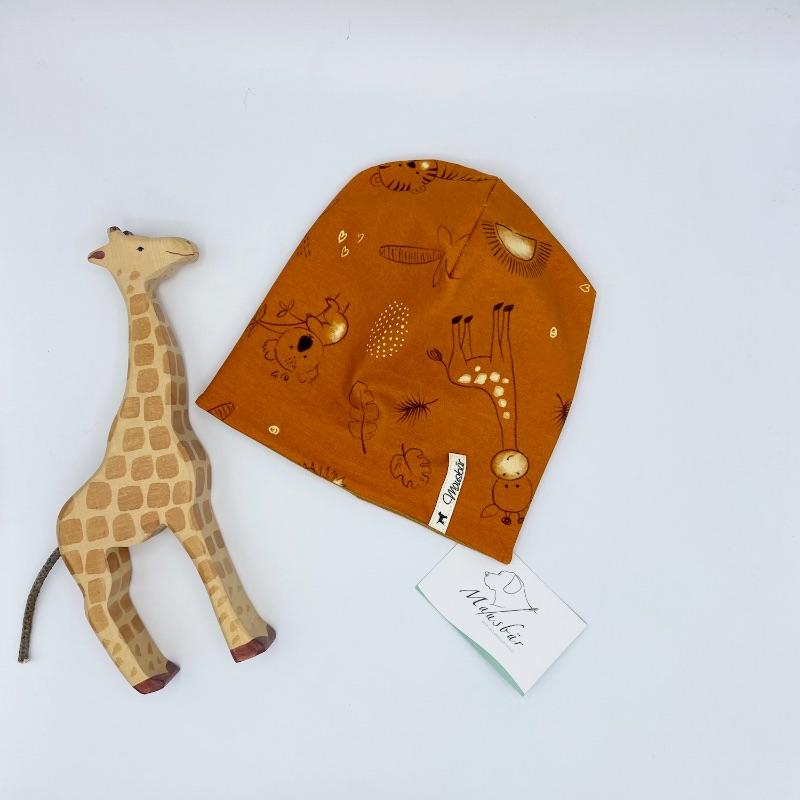 Kleinesbild - Beanie, KU 39 - 42 cm, Mütze, Wendemütze,doppellagig, Safarie, von Mausbär