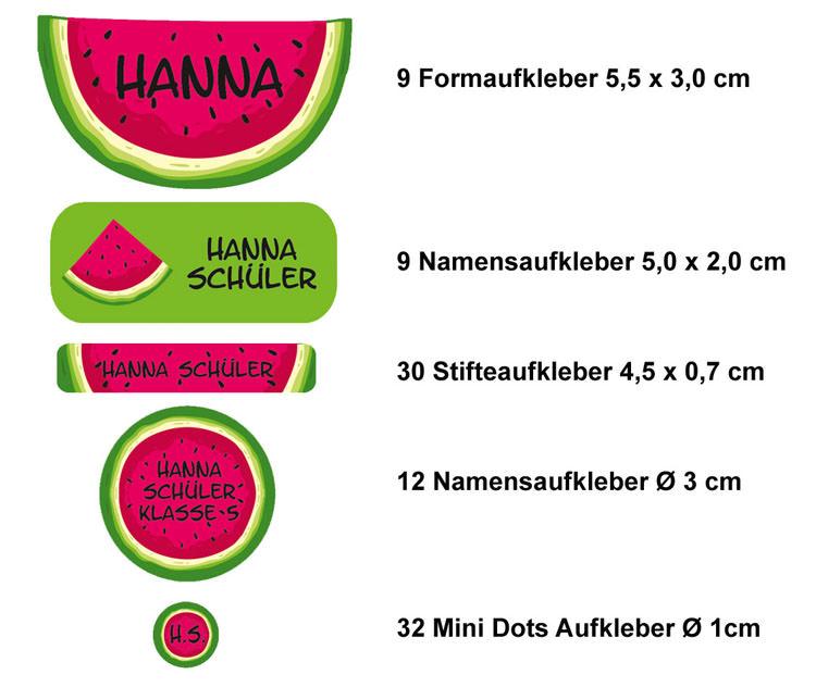 Kleinesbild - Schulstarterset - 92 Aufkleber   Melone - personalisierbar   Namensaufkleber, Schuletiketten