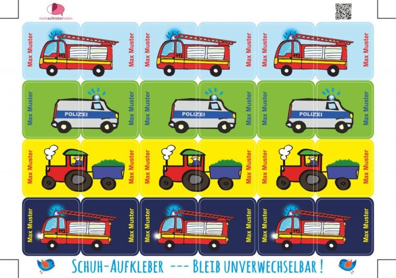 Kleinesbild - 24 Schuhaufkleber | Fahrzeuge + Schutzfolie - personalisierbar | Namensaufkleber, Schuhetiketten Feuerwehr, Polizei