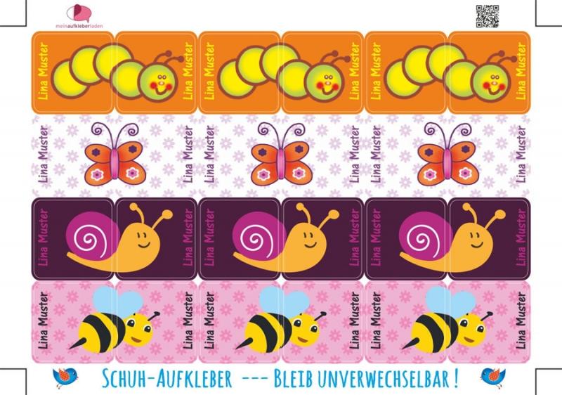 Kleinesbild - 24 Schuhaufkleber   Kleine Tierchen - rosa orange + Schutzfolie - personalisierbar   Namensaufkleber, Schuhetiketten,