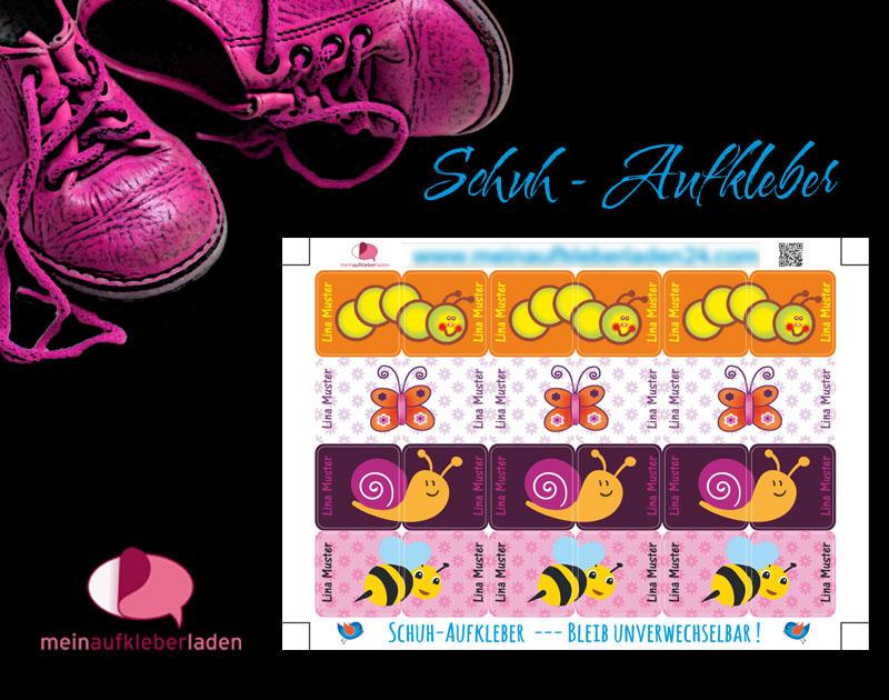 - 24 Schuhaufkleber   Kleine Tierchen - rosa orange + Schutzfolie - personalisierbar   Namensaufkleber, Schuhetiketten,  - 24 Schuhaufkleber   Kleine Tierchen - rosa orange + Schutzfolie - personalisierbar   Namensaufkleber, Schuhetiketten,