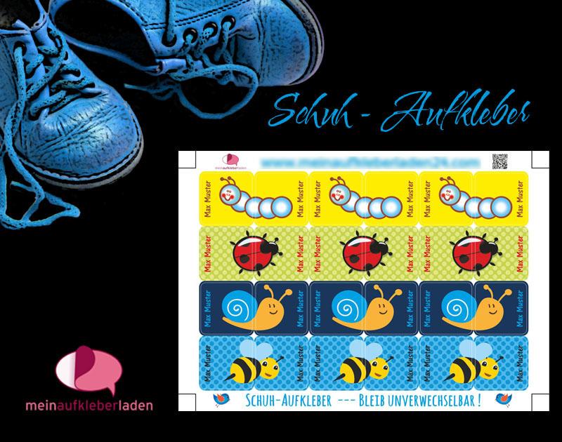 - 24 Schuhaufkleber | Kleine Tierchen - blau gelb + Schutzfolie - personalisierbar | Namensaufkleber, Schuhsticker - 24 Schuhaufkleber | Kleine Tierchen - blau gelb + Schutzfolie - personalisierbar | Namensaufkleber, Schuhsticker