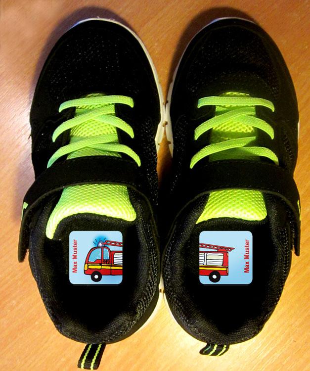 Kleinesbild - 24 Schuhaufkleber | Kleine Tierchen - blau gelb + Schutzfolie - personalisierbar | Namensaufkleber, Schuhsticker