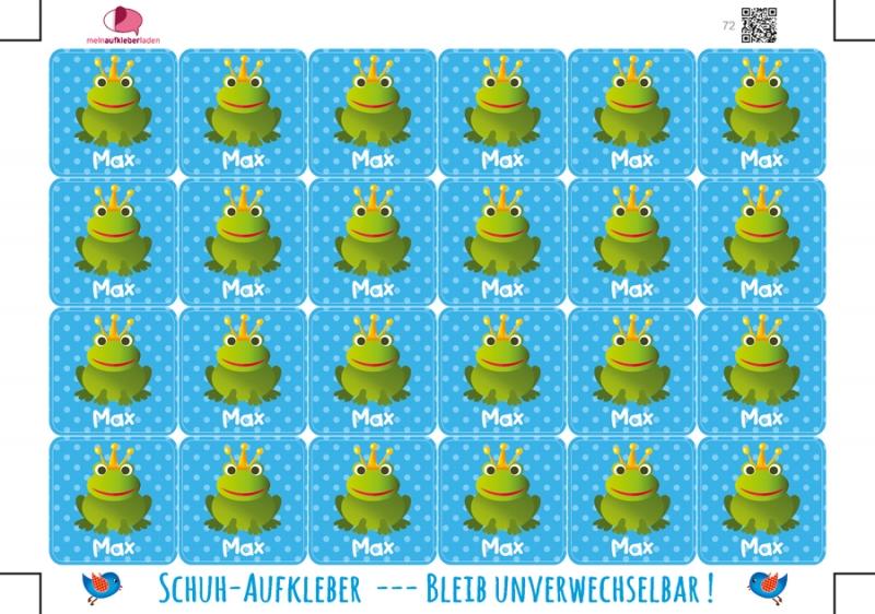 Kleinesbild - 24 Schuhaufkleber   Frosch blau + Schutzfolie - personalisierbar   Namensaufkleber, Schuhetiketten