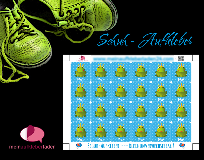 - 24 Schuhaufkleber   Frosch blau + Schutzfolie - personalisierbar   Namensaufkleber, Schuhetiketten - 24 Schuhaufkleber   Frosch blau + Schutzfolie - personalisierbar   Namensaufkleber, Schuhetiketten