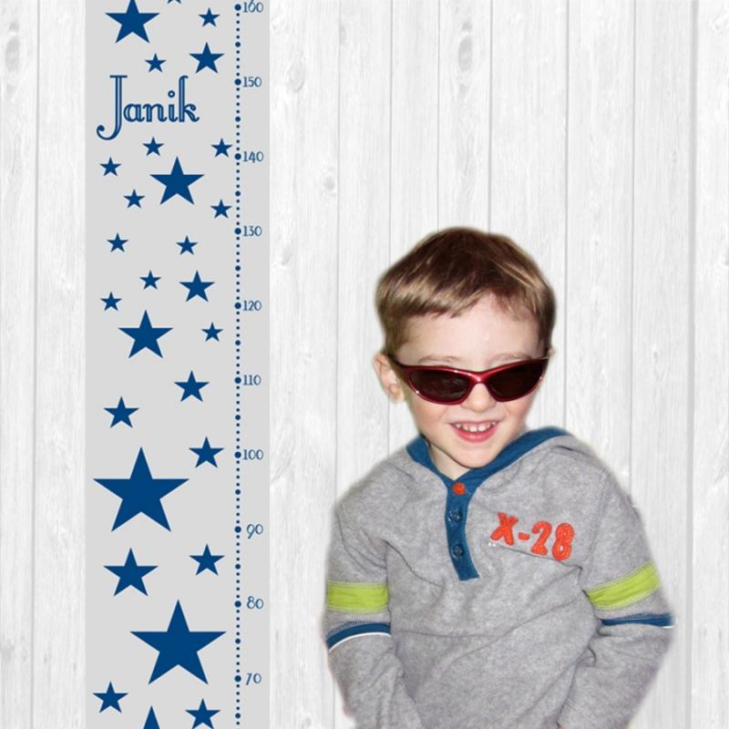 Kleinesbild - selbstklebende Messlatte | Sterne | Wandtattoo Kindermesslatte, Messleiste für Kinderzimmer