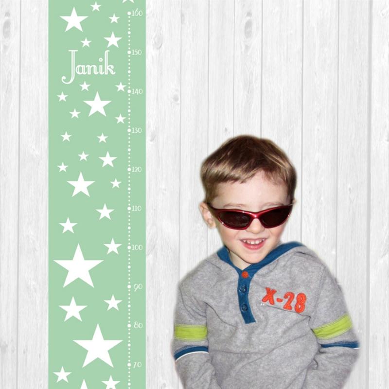 Kleinesbild - selbstklebende Messlatte | Sterne - pastell | Wandtattoo Kindermesslatte, Messleiste für Kinderzimmer