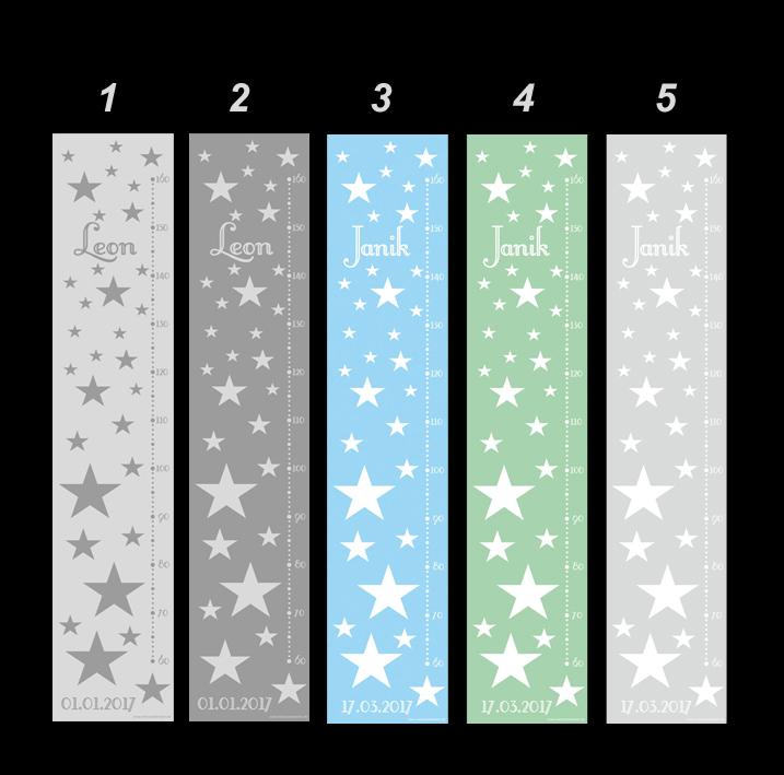 Kleinesbild - selbstklebende Messlatte   Sterne - pastell   Wandtattoo Kindermesslatte, Messleiste für Kinderzimmer