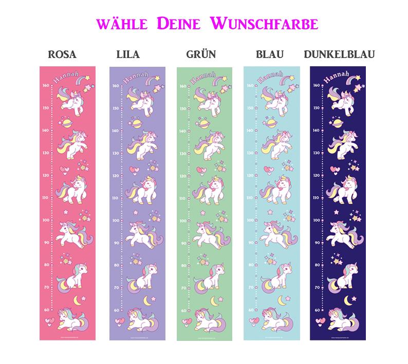 Kleinesbild - selbstklebende Messlatte   niedliche Einhörner   Wandtattoo Kindermesslatte, Messleiste für Kinderzimmer