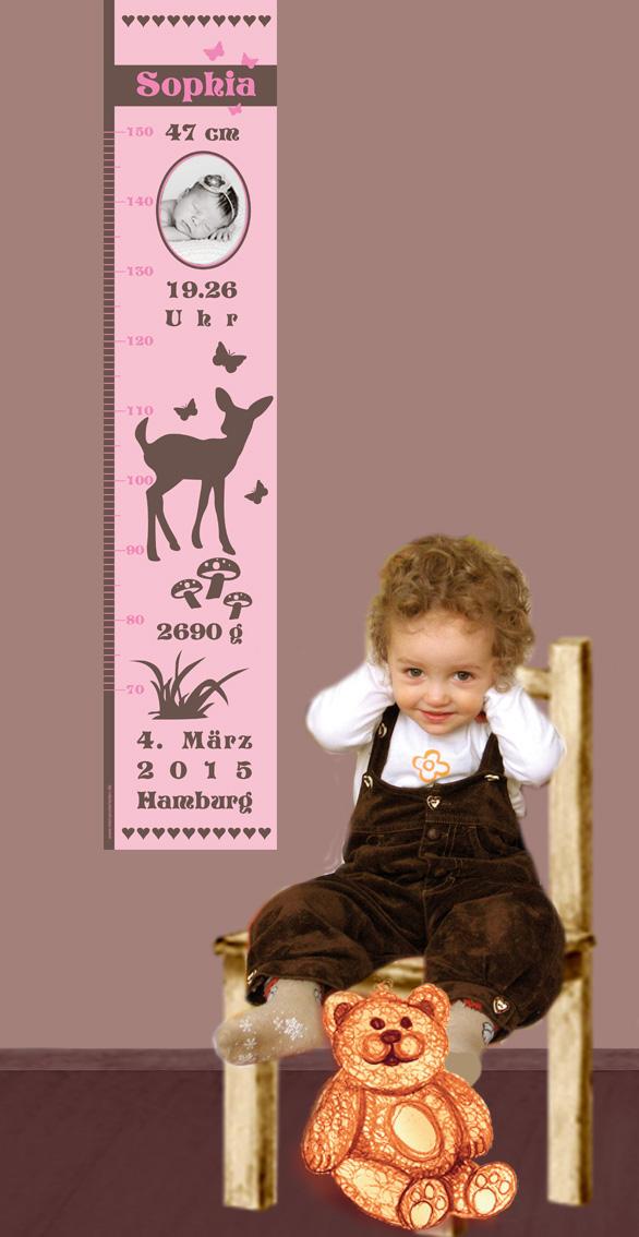 Kleinesbild - selbstklebende Kindermesslatte Foto   Reh - rosa braun    Wandtattoo Messlatte personalisiert mit Geburtsdaten & Foto vom Baby