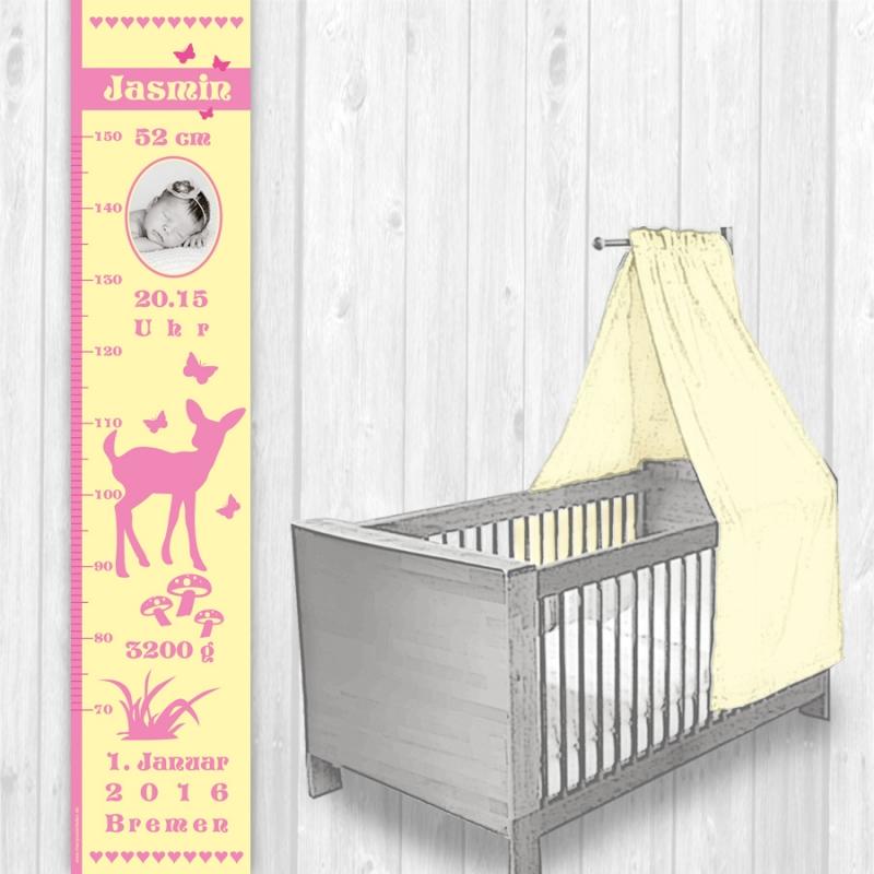 Kleinesbild - selbstklebende Kindermesslatte Foto | Reh - vanille rosa | Wandtattoo Messlatte personalisiert mit Geburtsdaten & Foto vom Baby