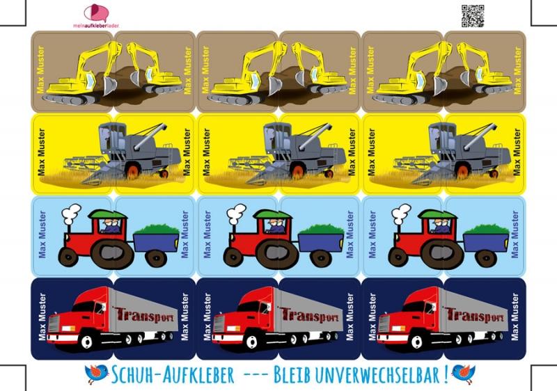 Kleinesbild - 24 Schuhaufkleber | Fahrzeuge 2 + Schutzfolie - personalisierbar | Namensaufkleber, Schuhetiketten, LKW, Mähdrescher, Bagger, Traktor