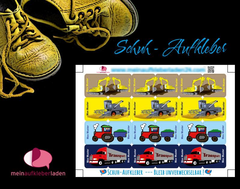 - 24 Schuhaufkleber | Fahrzeuge 2 + Schutzfolie - personalisierbar | Namensaufkleber, Schuhetiketten, LKW, Mähdrescher, Bagger, Traktor - 24 Schuhaufkleber | Fahrzeuge 2 + Schutzfolie - personalisierbar | Namensaufkleber, Schuhetiketten, LKW, Mähdrescher, Bagger, Traktor