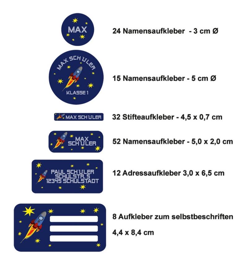 Kleinesbild - Schulaufkleberset  | Rakete - 143 Aufkleber - personalisierbar | Namensaufkleber, Schuletiketten