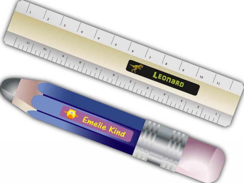 Kleinesbild - 24 Stifteaufkleber   Dinos - personalisierbar   schmale Namensaufkleber, Schuletiketten
