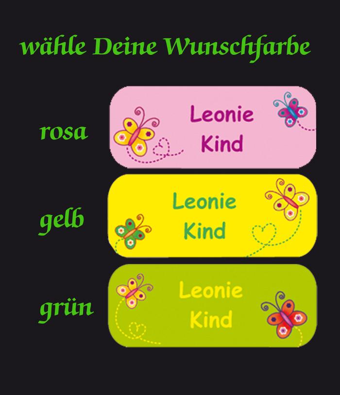 Kleinesbild - 52 Namensaufkleber  | Schmetterlinge | eckig - personalisierbar | Namensetiketten, Schuletiketten