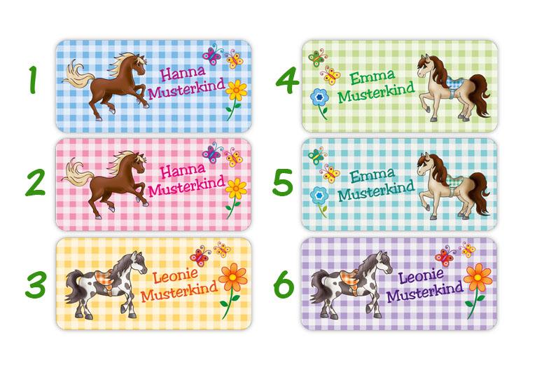 Kleinesbild - 24 Namensaufkleber    Pony   eckig - personalisierbar   Namensetiketten, Schuletiketten