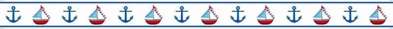 Kleinesbild - Kinderbordüre - selbstklebend | Anker & Segelschiff - 10 cm Höhe | Vlies Bordüre mit maritimen Motiven