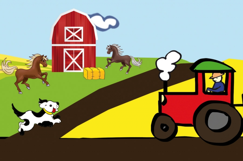 Kleinesbild - Kinderbordüre - selbstklebend | Bauernhof - 18 cm Höhe | Vlies Bordüre mit Tieren, Windmühle, Feldern  & Traktor