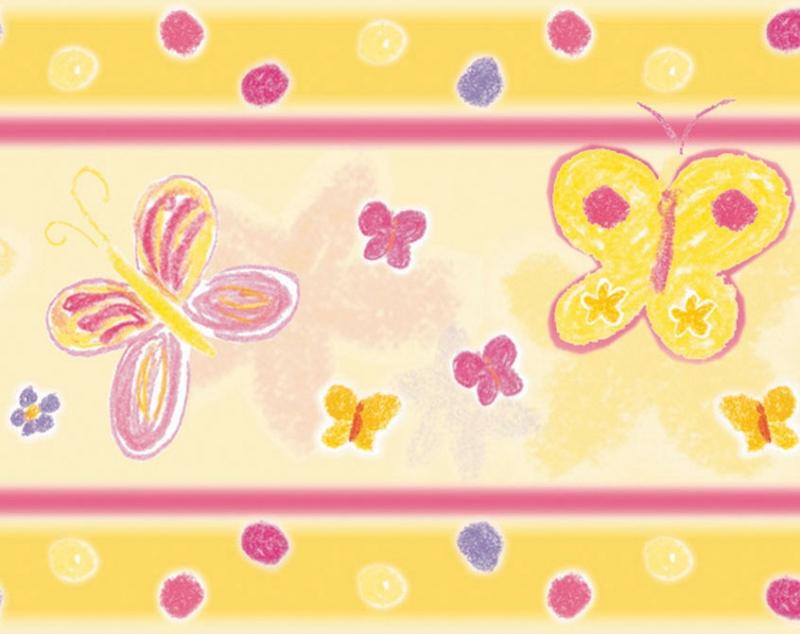 - Kinderbordüre - selbstklebend | Schmetterlinge - 18 cm Höhe | Vlies Bordüre nach Pastellkreide - Art handgemalt - Kinderbordüre - selbstklebend | Schmetterlinge - 18 cm Höhe | Vlies Bordüre nach Pastellkreide - Art handgemalt