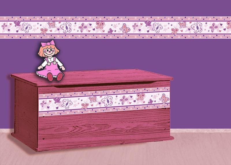 Kleinesbild - Kinderbordüre - selbstklebend | Schmetterlinge - 18 cm Höhe | Vlies Bordüre nach Pastellkreide - Art handgemalt