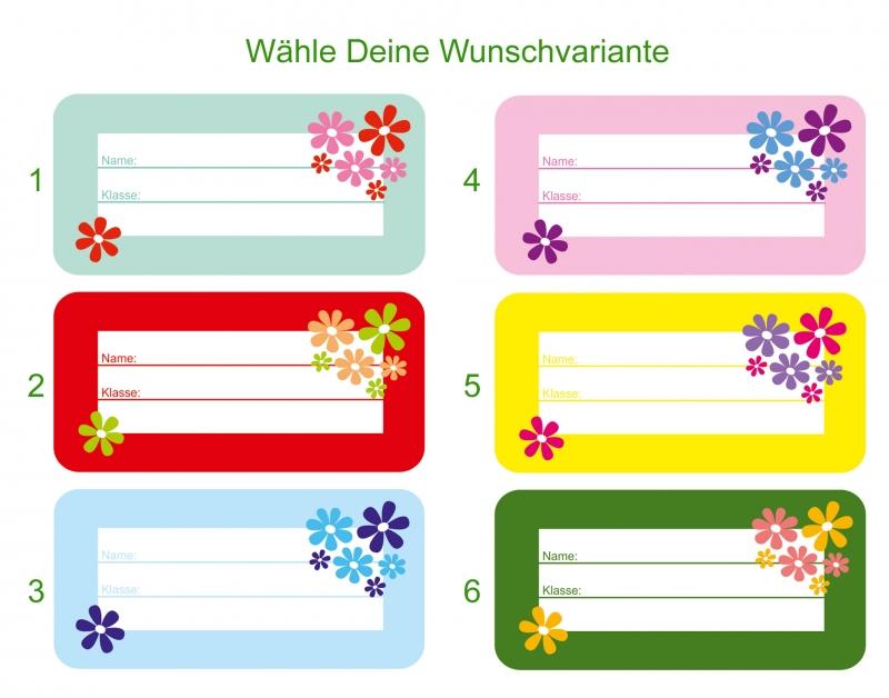 Kleinesbild - 24 Heftaufkleber 3,0 x 6,5 cm   Blumen   Schuletiketten zum selber beschriften