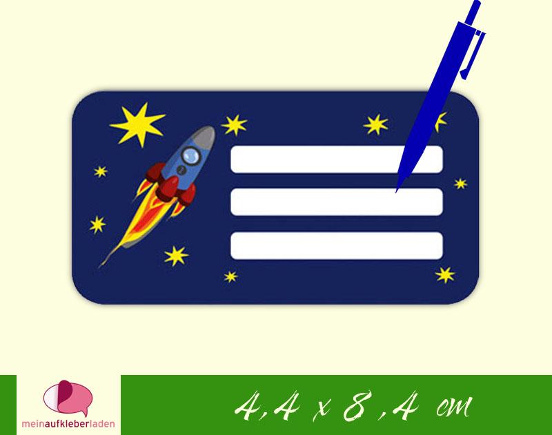 - 12 Heftaufkleber 4,4 x 8,4 cm | Rakete | Schuletiketten zum selber beschriften  - 12 Heftaufkleber 4,4 x 8,4 cm | Rakete | Schuletiketten zum selber beschriften