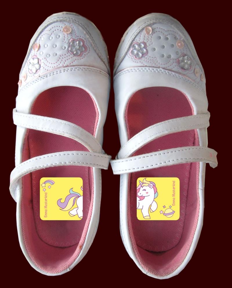Kleinesbild - 24 Schuhaufkleber   Einhorn + Schutzfolie - personalisierbar   Namensaufkleber, Schuhetiketten