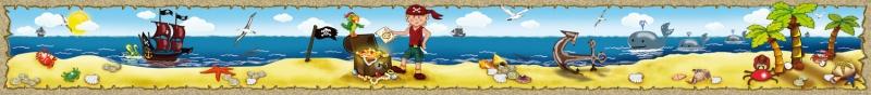Kleinesbild - Kinderbordüre - selbstklebend | Unterwasserwelt Fische - 15 cm Höhe | Vlies Bordüre mit Seepferdchen, Oktopus, viele bunte Fische