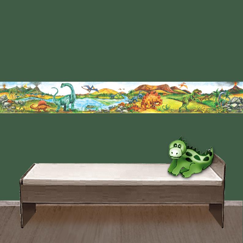 Kleinesbild - Kinderbordüre - selbstklebend | Urzeit Dinos - 18 cm Höhe | Vlies Bordüre mit T-Rex, Langhals, Stegosaurus, Flugsaurier & Vulkan - handgemalt