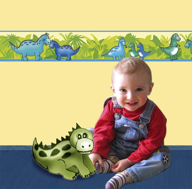 Kleinesbild - Kinderbordüre - selbstklebend | Kleine Dinos - 18 cm Höhe | Vlies Bordüre mit freundlichen Dinos