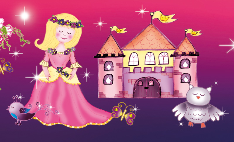Kleinesbild - Kinderbordüre - selbstklebend | Märchen Prinzessin - 15 cm Höhe | Vlies Bordüre mit Märchenschloss, goldene Pferdekutsche, Glitzersternchen und Prinzessinnen - handgemalt