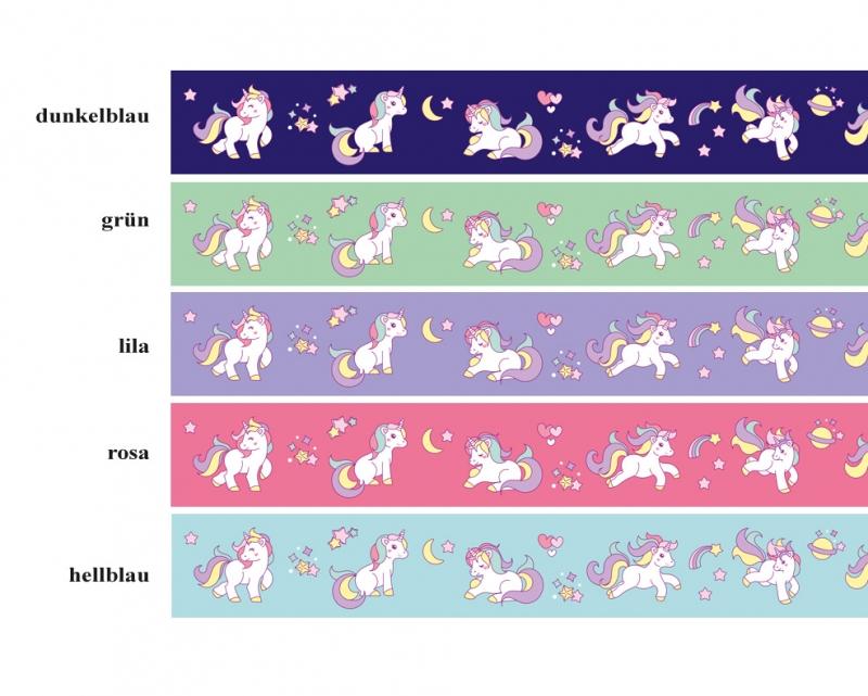 Kleinesbild - Kinderbordüre - selbstklebend   Regenbogen Einhorn - 18 cm Höhe   Vlies Bordüre mit niedlichen Regenbogenfarbenen Einhörnern