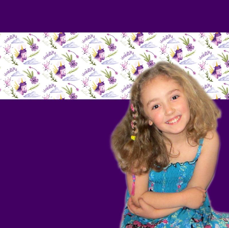 Kleinesbild - Kinderbordüre - selbstklebend   Kleine Pegasus Einhörner - Watercolor - 20 cm Höhe   Vlies Bordüre mit lila geflügelten Einhörnern in Aquarellart