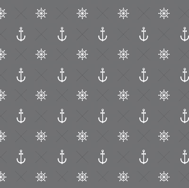 Kleinesbild - Wandbordüre - selbstklebend | Anker & Steuerrad - 18 cm Höhe | Vlies Bordüre mit maritimen Motiven