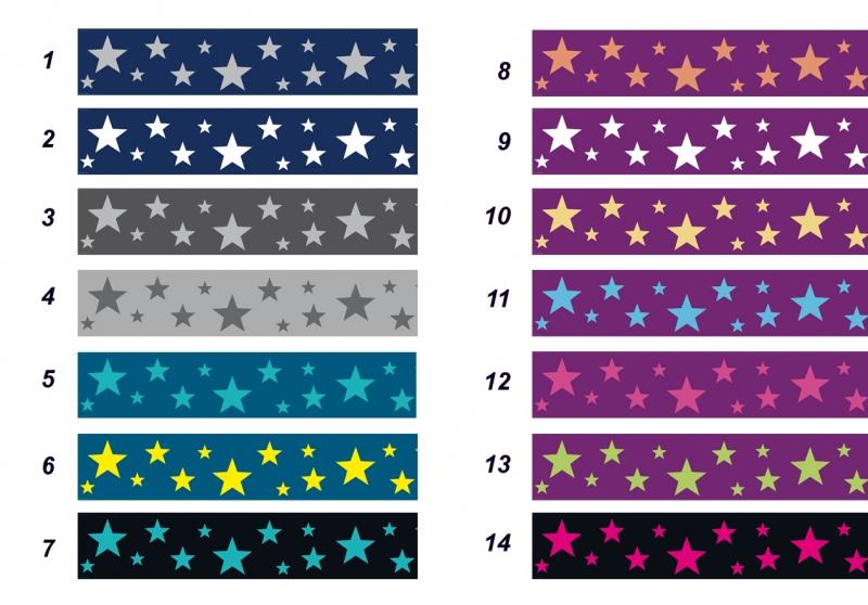 Kleinesbild - Wandbordüre - selbstklebend | Sterne - viele Farben - 11 cm Höhe | Vlies Bordüre mit unterschiedlichen Sternen