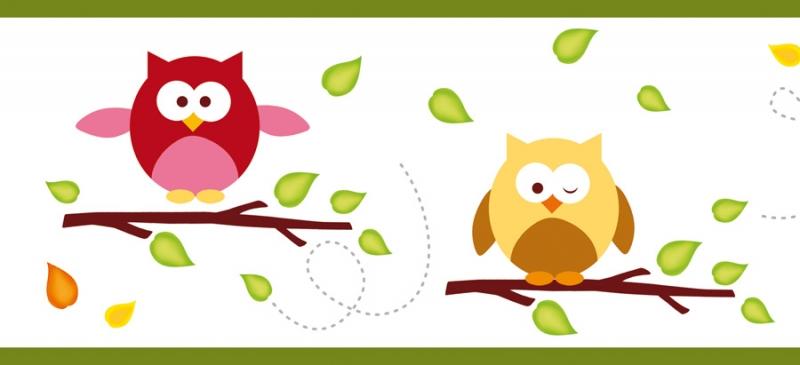 Kleinesbild - Kinderbordüre - selbstklebend | Kleine Eulen - 12 cm Höhe | Vlies Bordüre mit lustigen bunten Eulen und Herbstblättern