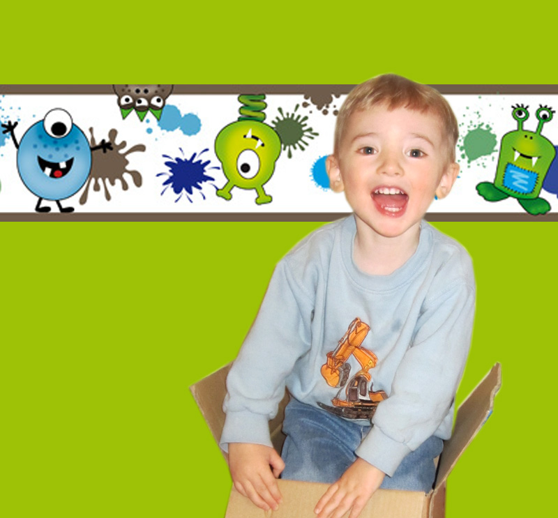 Kleinesbild - Kinderbordüre - selbstklebend   Farbklecks Monster - 15 cm Höhe   Vlies Bordüre mit lustigen bunten und fröhlichen Monstern