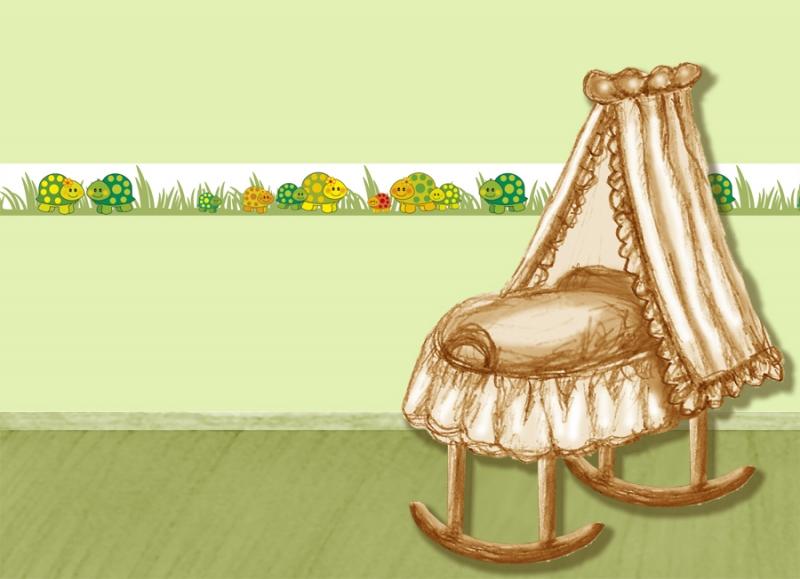 Kleinesbild - Kinderbordüre - selbstklebend | Kleine Schildkröten - 12 cm Höhe | Vlies Bordüre mit niedlichen Schildkröten