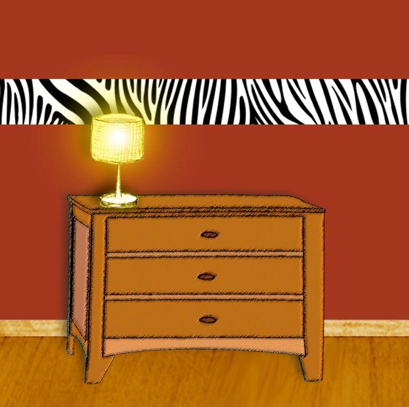 Kleinesbild - Wandbordüre - selbstklebend   Zebrastreifen - weiß farbig - 13 cm Höhe   Vlies Bordüre mit tierischem Muster - Zebra
