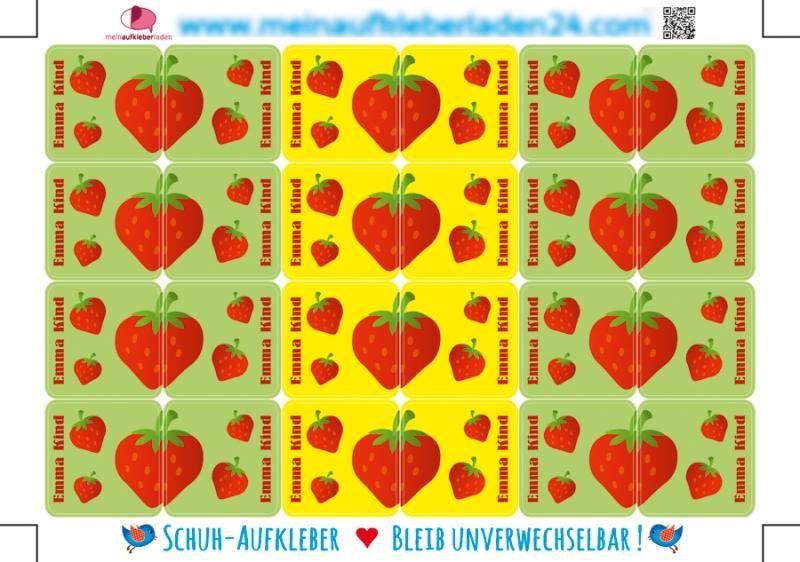 Kleinesbild - 24 Schuhaufkleber | Erdbeere + Schutzfolie - personalisierbar | Namensaufkleber, Schuhetiketten