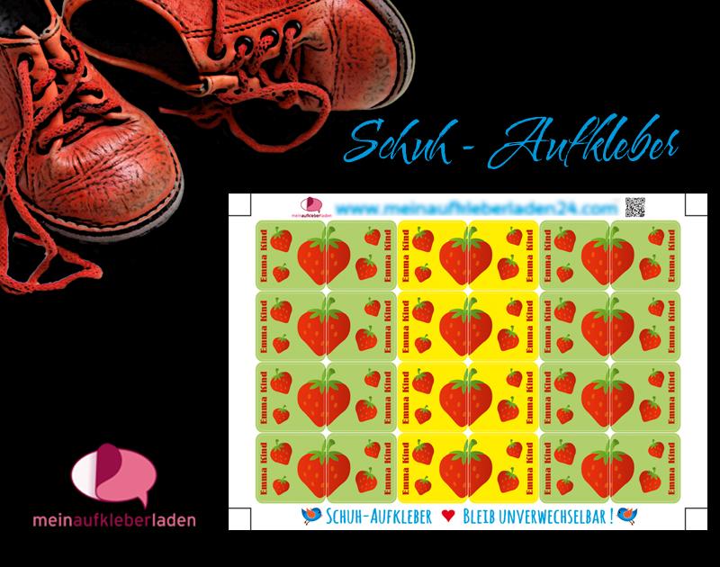 - 24 Schuhaufkleber | Erdbeere + Schutzfolie - personalisierbar | Namensaufkleber, Schuhetiketten  - 24 Schuhaufkleber | Erdbeere + Schutzfolie - personalisierbar | Namensaufkleber, Schuhetiketten