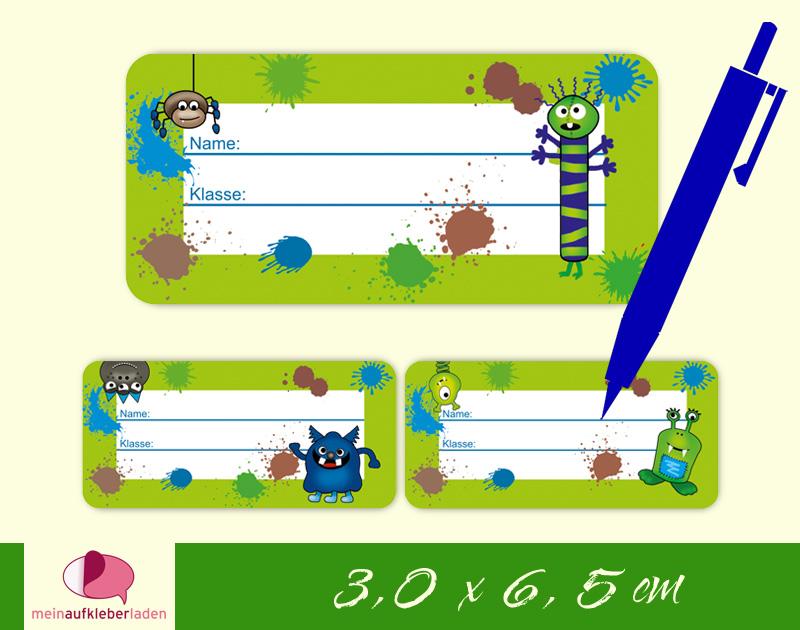 - 24 Heftaufkleber 3,0 x 6,5 cm | Monster grün | Schuletiketten zum selber beschriften - 24 Heftaufkleber 3,0 x 6,5 cm | Monster grün | Schuletiketten zum selber beschriften