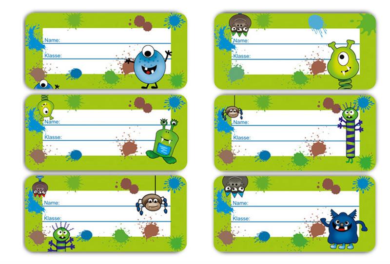 Kleinesbild - 24 Heftaufkleber 3,0 x 6,5 cm | Monster grün | Schuletiketten zum selber beschriften