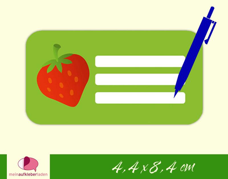 - 12 Heftaufkleber 4,4 x 8,4 cm | Erdbeere | Schuletiketten zum selber beschriften   - 12 Heftaufkleber 4,4 x 8,4 cm | Erdbeere | Schuletiketten zum selber beschriften