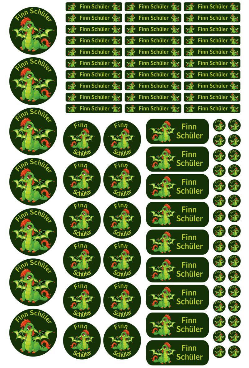 Kleinesbild - Schulstarterset - 90 Aufkleber | Babydrache grün - personalisierbar | Namensaufkleber, Schuletiketten
