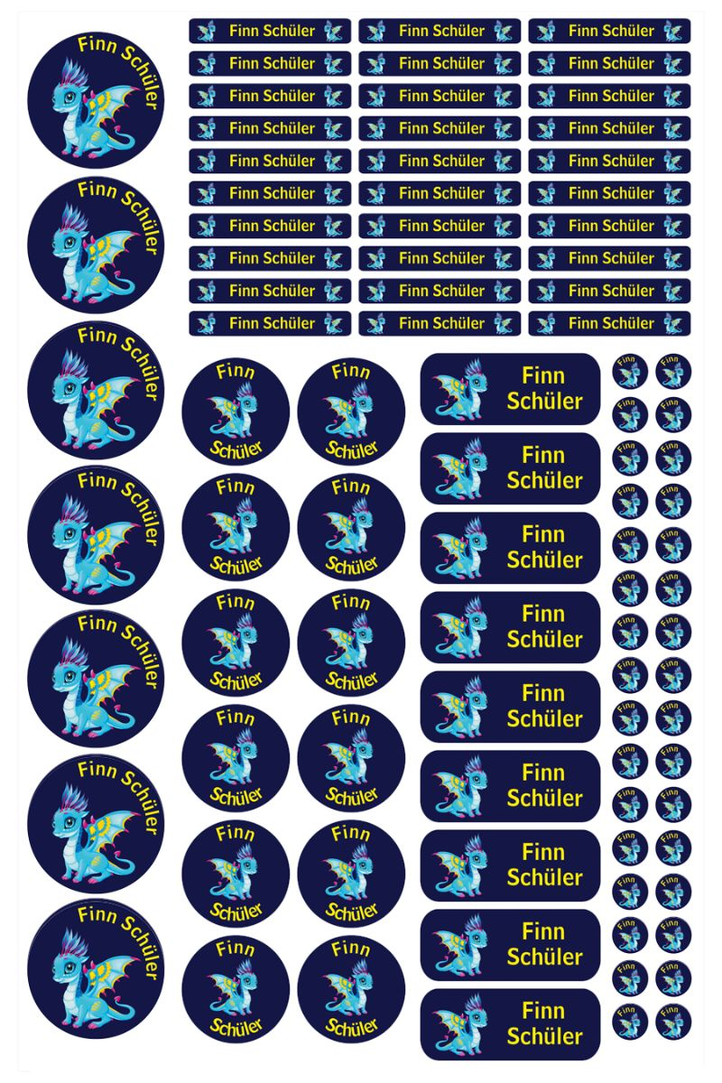 Kleinesbild - Schulstarterset - 90 Aufkleber | Babydrache blau - personalisierbar | Namensaufkleber, Schuletiketten