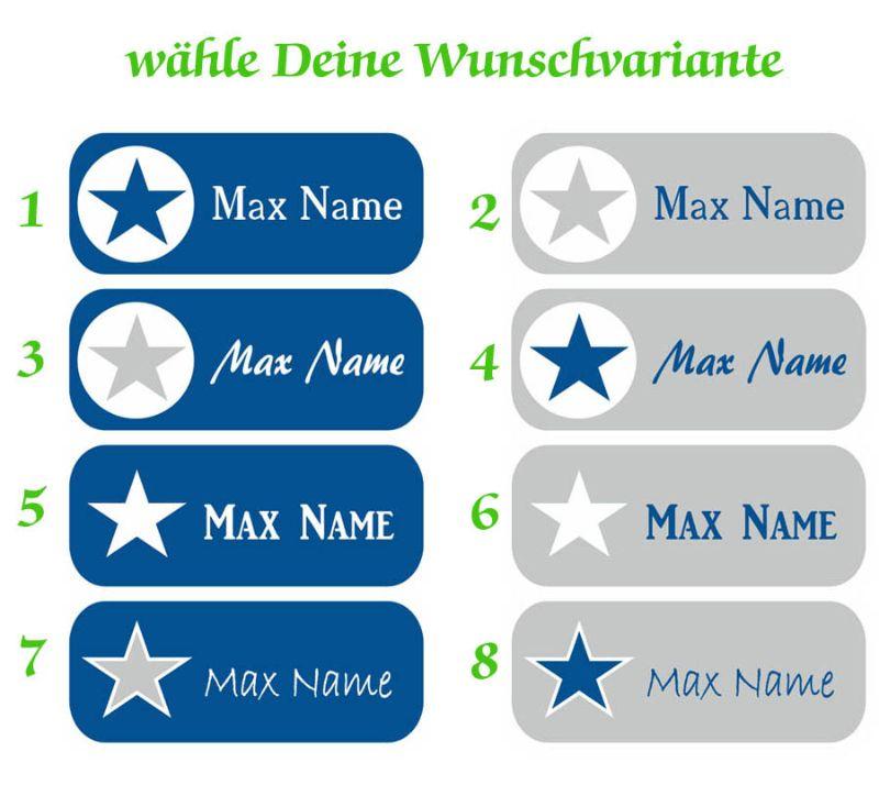 Kleinesbild - 52 Namensaufkleber    Stern blau-grau   eckig - personalisierbar   Namensetiketten, Schuletiketten