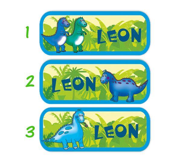 Kleinesbild - 52 Namensaufkleber  | Baby Dinos | eckig - personalisierbar | Namensetiketten, Schuletiketten