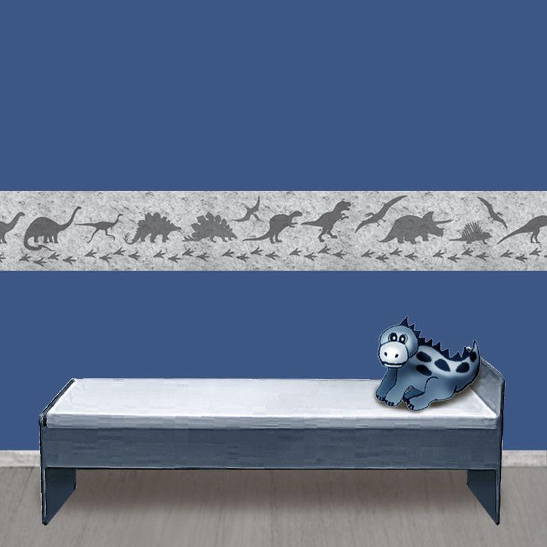 Kleinesbild - Kinderbordüre - selbstklebend   Dinos auf Steinoptik - 18 cm Höhe   Vlies Bordüre mit T-Rex, Langhals, Stegosaurus, Flugsaurier